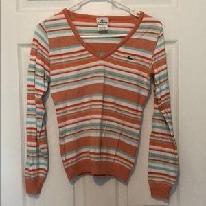 Lacoste stripes v neck sweater